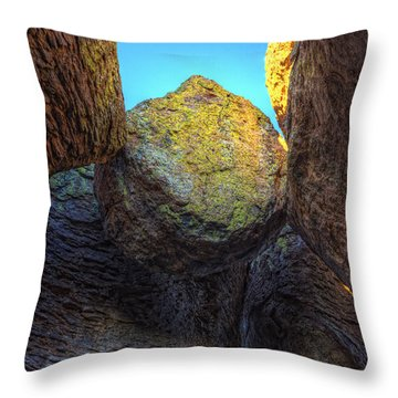 A Rock Balanced Precariously Throw Pillow by Robert Postma