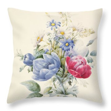 A Rose Anemone Mignonette And Daisies Throw Pillow by Nathalie d Esmenard