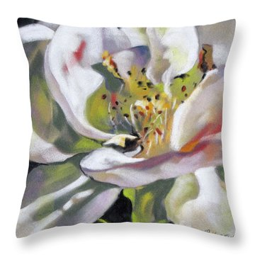 Throw Pillow featuring the painting A Rose By Any Other Name by Rae Andrews
