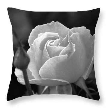 Throw Pillow featuring the photograph A Rose In Black And White by Janice Adomeit