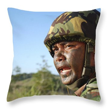 A Royal Brunei Land Force Soldier Throw Pillow by Stocktrek Images