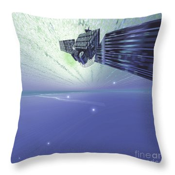 A Satellite Out In The Vast Beautiful Throw Pillow by Corey Ford