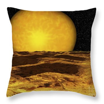 A Scene On A Moon Of Upsilon Andromeda Throw Pillow by Ron Miller