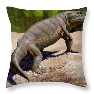 A Seymouria Baylorensis Throw Pillow by Sergey Krasovskiy