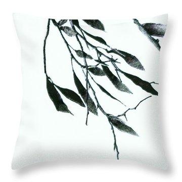 A Single Branch Throw Pillow by Ann Powell