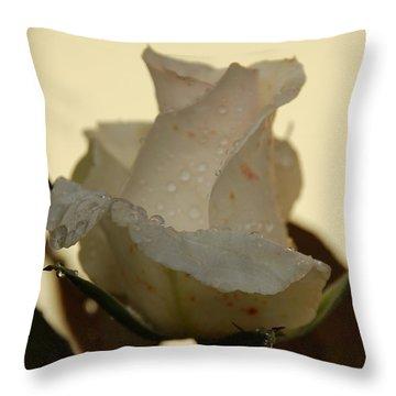 A Single White Rose Throw Pillow