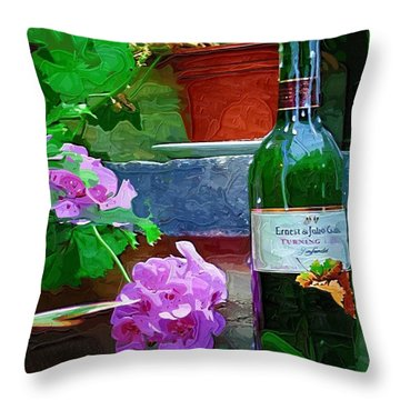 A Sip Of Wine Throw Pillow by Amanda Moore