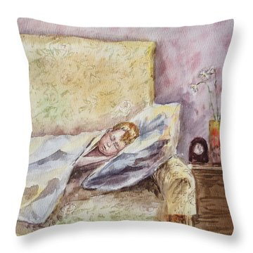 A Sleeping Toddler Throw Pillow by Irina Sztukowski