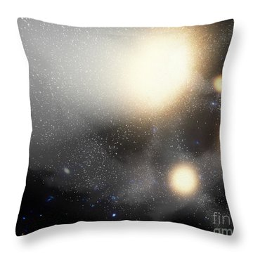 A Smash-up Of Galaxies Throw Pillow by Stocktrek Images