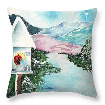 A Snowy Cardinal Day - Christmas Card Throw Pillow