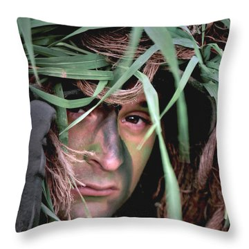A Soldier Camouflaged In His Ghillie Throw Pillow by Stocktrek Images