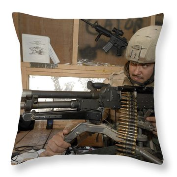 A Soldier Conducts An Observation Throw Pillow by Stocktrek Images