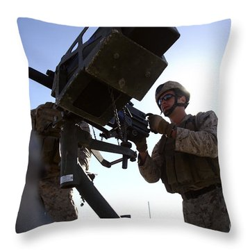 A Soldier Fires 40mm Rounds Throw Pillow by Stocktrek Images