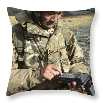 A Soldier Inputs The Firing Data Throw Pillow by Andrew Chittock