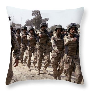 A Soldier Marches His Troops Throw Pillow by Stocktrek Images