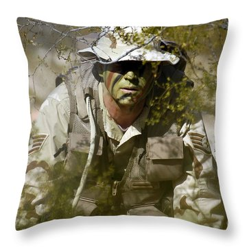 A Soldier Practices Evasion Maneuvers Throw Pillow by Stocktrek Images