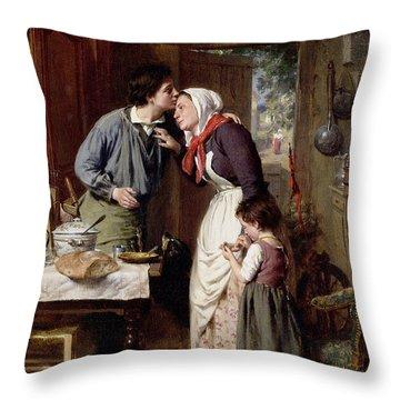 A Son's Devotion Throw Pillow by Pierre Jean Edmond Castan
