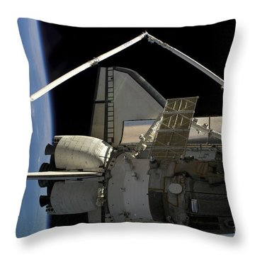 A Soyuz Vehicle And The Space Shuttle Throw Pillow by Stocktrek Images