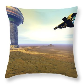 A Spacecraft Nears A Spaceport Throw Pillow by Corey Ford
