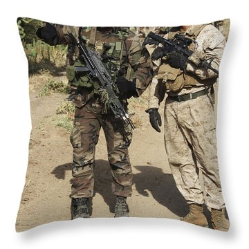 A Spanish Marine Points Out An Throw Pillow by Stocktrek Images