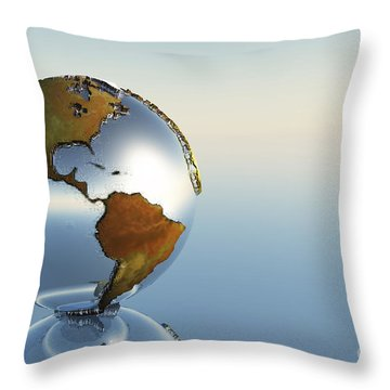 A Sphere Holding North And South Throw Pillow by Corey Ford
