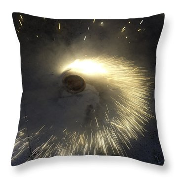 A Spinning Firecracker During Diwali Celebrations Throw Pillow by Ashish Agarwal