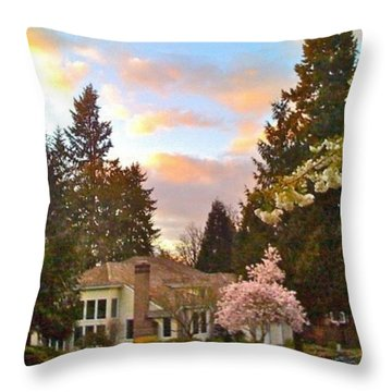 A Spring Evening - Lake Oswego Or Throw Pillow by Anna Porter