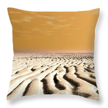 A Spring Sunrise Over The Surface Throw Pillow by Walter Myers