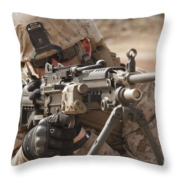 A Squad Automatic Weapon Gunner Throw Pillow by Stocktrek Images
