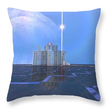 A Star Shines On Alien Architecture Throw Pillow by Corey Ford