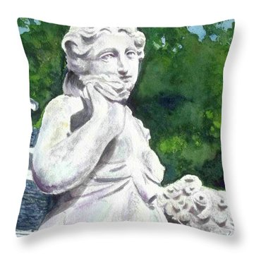 Throw Pillow featuring the painting A Statue At The Wellers Carriage House -1 by Yoshiko Mishina
