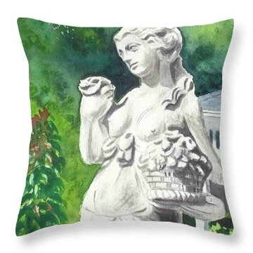 Throw Pillow featuring the painting A Statue At The Wellers Carriage House -2 by Yoshiko Mishina
