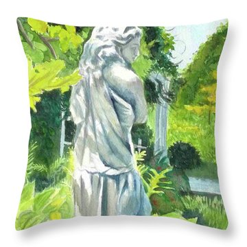 Throw Pillow featuring the painting A Statue At The Wellers Carriage House -3 by Yoshiko Mishina