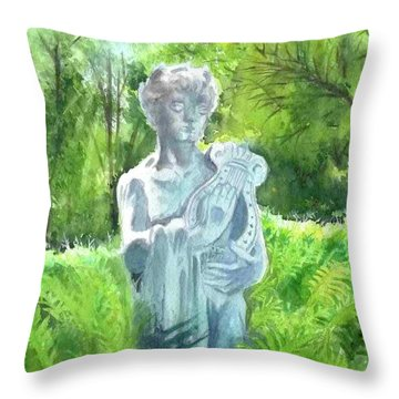 Throw Pillow featuring the painting A Statue At The Wellers Carriage House -4 by Yoshiko Mishina