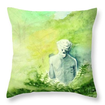 Throw Pillow featuring the painting A Statue At The Wellers Carriage House -5 by Yoshiko Mishina
