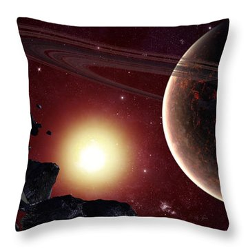 A Stealth Fighter En Route To Hades Throw Pillow by Frieso Hoevelkamp