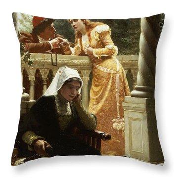 A Stolen Interview Throw Pillow by Edmund Blair Leighton