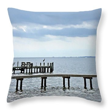 A Stormy Day On The Pamlico River Throw Pillow