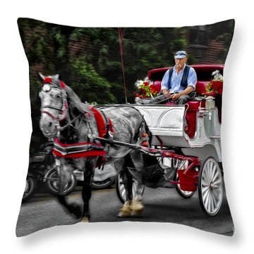 A Stroll Thru The City Throw Pillow by Susan Candelario