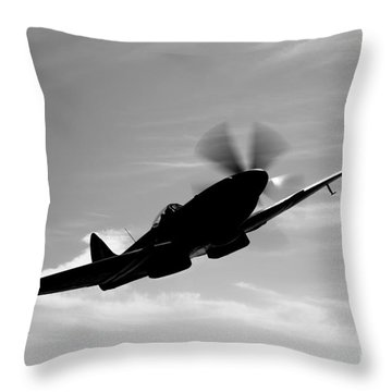 A Supermarine Spitfire Mk-18 In Flight Throw Pillow by Scott Germain