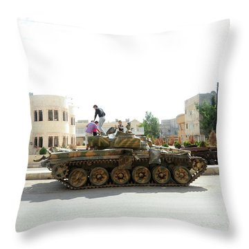 A T-72 Main Battle Tank On The Streets Throw Pillow by Andrew Chittock