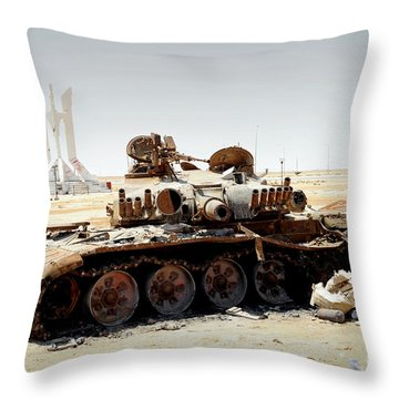 A T-80 Tank Destroyed By Nato Forces Throw Pillow by Andrew Chittock