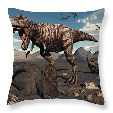 A T. Rex Is About To Make A Meal Throw Pillow by Mark Stevenson