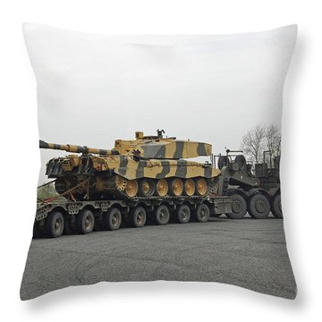 A Tank Transporter Hauling A Challenger Throw Pillow by Andrew Chittock