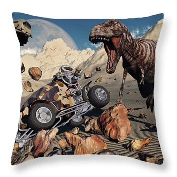 A Team Of Time Travelling Explorers Try Throw Pillow by Mark Stevenson