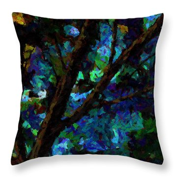 Throw Pillow featuring the painting A Touch Of Blue by Steven Lebron Langston