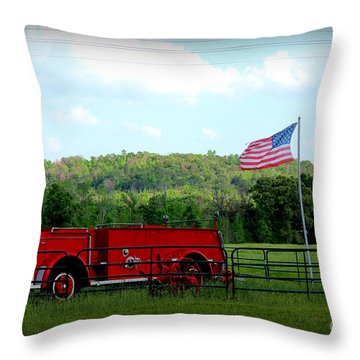 Throw Pillow featuring the photograph A Tribute To The Fireman by Kathy  White