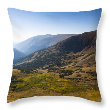 A Tundra Valley In The Colorado Rockies Throw Pillow by Ellie Teramoto