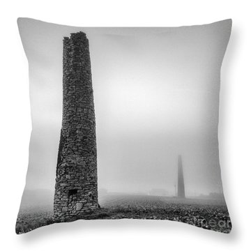 A Twin Cornish Mine Chimneys Throw Pillow by John Farnan