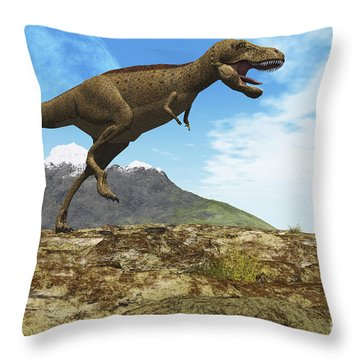 A Tyrannosaurus Rex Dinosaur Walks Throw Pillow by Corey Ford